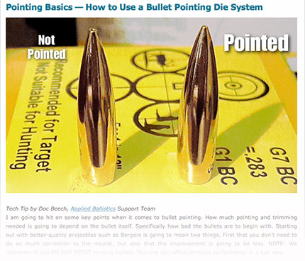 A great article on pointing bullets.